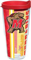 Tervis 1229644 Maryland Terrapins College Pride Tumbler with Wrap and Red Lid 24oz, Clear