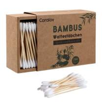 Bamboo Cotton Swabs 200ct | Wooden Cotton Swab | Double Tipped Ear Sticks | Recyclable & Biodegradable cotton buds for Ears | Plastic Free Makeup Swab