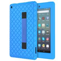 MoKo Kids Case Fits All-New Amazon Kindle Fire 7 Tablet (9th Generation, 2019 Release), Anti Slip Soft Silicone Back Cover Shell with Hand Strap for Secure Corner Protection -Blue