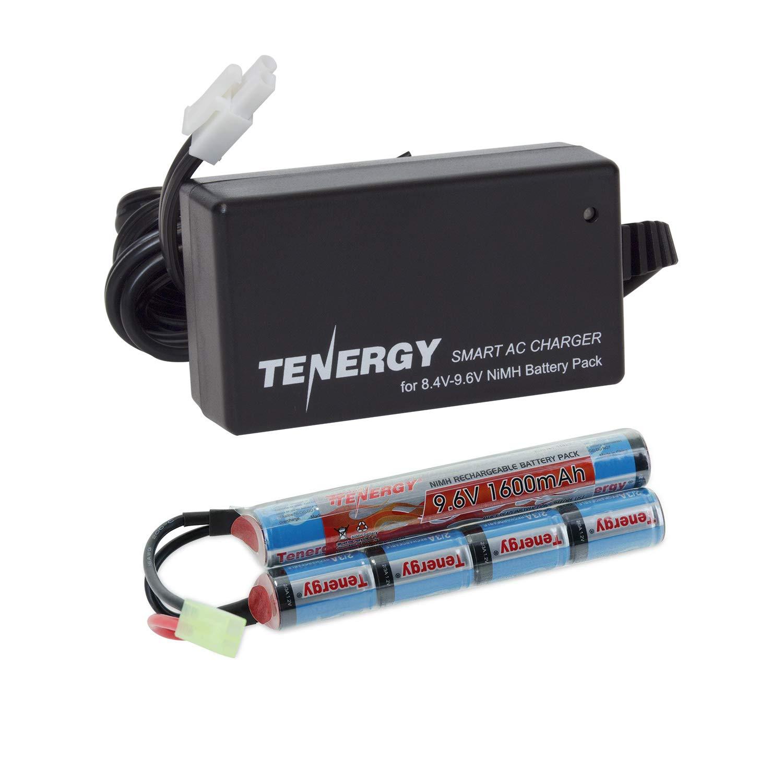 Tenergy 9.6V Airsoft Battery 1600mAh NiMH Nunchuck Battery w/Mini Tamiya Connector for Airsoft Guns M4, Crane Stock, M110, SR25, M249, M240B, G36, M14, RPK, PKM, L85, AUG, G3 (Optional Charger)