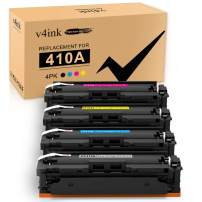 V4INK Compatible Toner Cartridge Replacement for HP 410A CF410A 410X CF410X 4 Packs,for use in HP Color Laserjet Pro MFP M477fdw M477fnw M477fdn M452dw M452dn M452nw M477 M452 M377dw Printer
