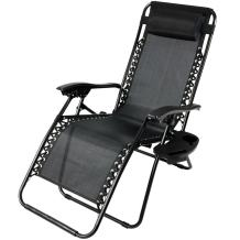 Sunnydaze Outdoor Zero Gravity Lounge Chair with Pillow and Cup Holder, Folding Patio Lawn Recliner, Black