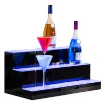 Nurxiovo Liquor Bottle Display Shelf 24 in 3 Step LED Lighted Bar Shelf for Home Commercial Bar, with RF Remote Control Multiple Colors