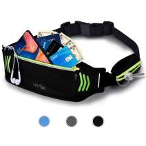 Letigo Fanny Pack Slim Soft Outdoor Dual Pouch Sweatproof Reflective Running Belt Waist Pack for Hiking Fitness – Adjustable Waist Pouch for All Kinds of Phones