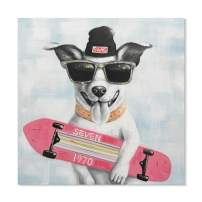 SEVEN WALL ARTS - 100% Hand Painted Oil Paintings Canvas Wall Art Colorful Dog Animal Modern Abstract Artwork Painting for Home Decoration (24 x 24 Inch, Puppy with Skateboard)
