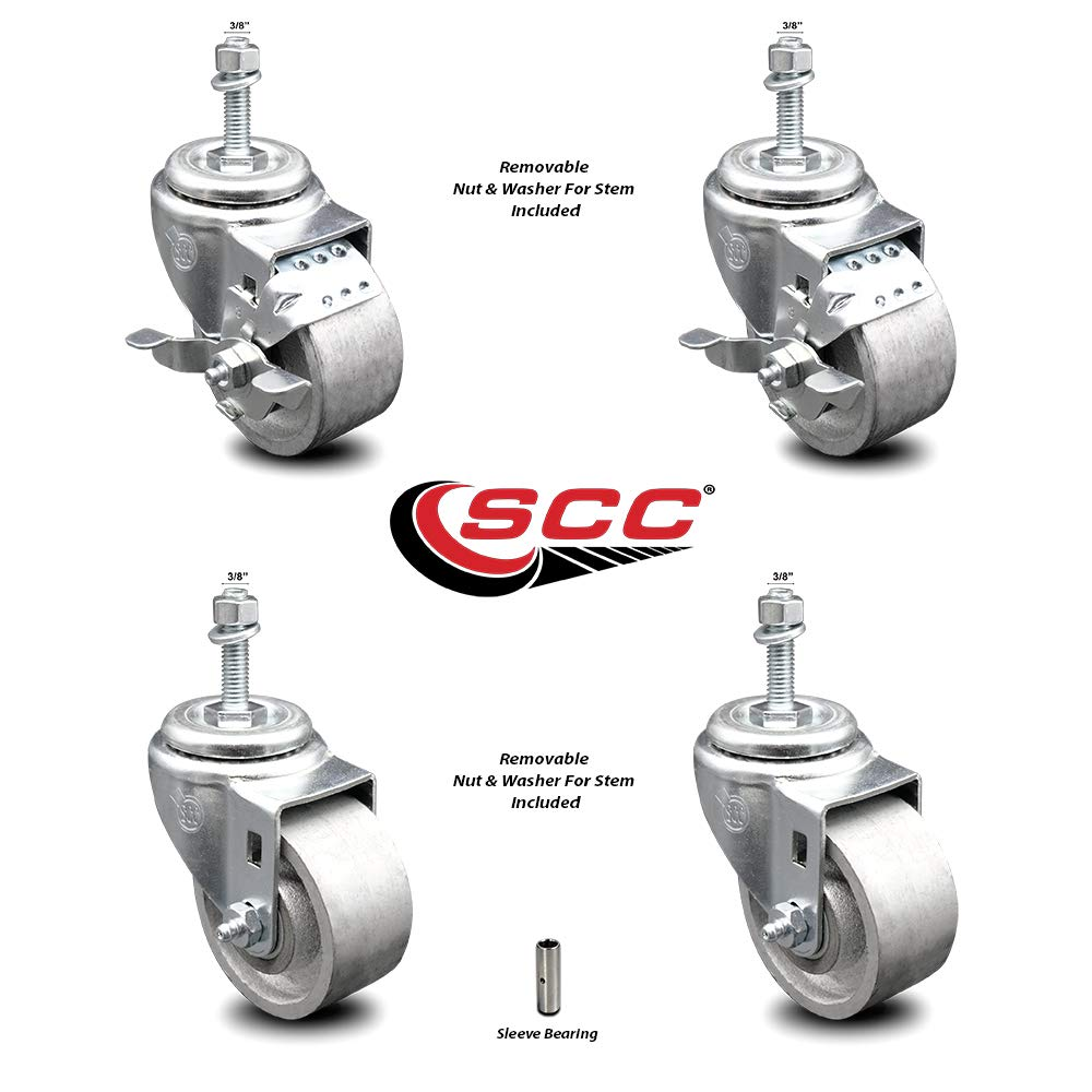 """Semi Steel Cast Iron Swivel Threaded Stem Caster Set of 4-3"""" x 1.25"""" Silver Wheels and 3/8"""" Stems - Includes 2 with Top Locking Brake - 1200 lbs Total Capacity - Service Caster Brand"""