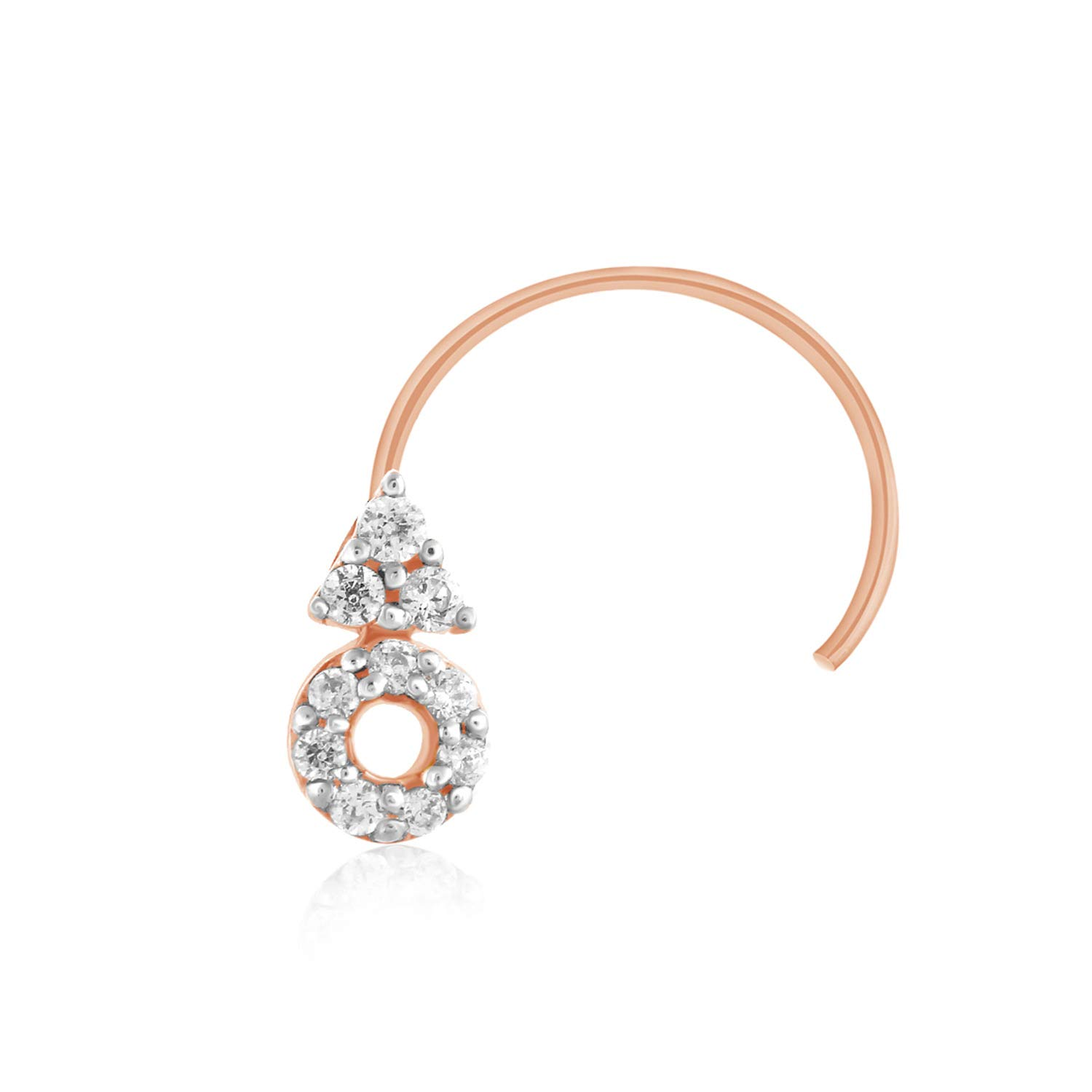 CARATS FOR YOU Round Shape Real Natural Diamond, 10k Solid Gold Nose Ring Stud Pin for women
