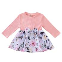 Infant Baby Girl Cotton Dress Long Sleeve Floral Flower Print Bow Skirt Dress Baby Girl Fall Winter Clothes