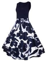 Vanbuy Women's V Neck Sleeveless 50s Pin Up Vintage Rockabilly Swing Party Dress