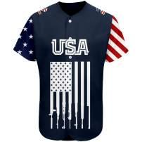 Custom 2nd Amendment Baseball Jersey USA Flag Style Breathable and Dry(Small-XXXXL)