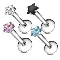 MoBody 4Pcs Labret Piercing Stud Set 16G Assorted Shape CZ Internally Threaded Monroe Piercing Lip Ring Helix Earring