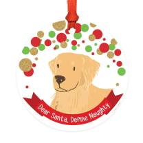 Andaz Press Dog Round Metal Christmas Ornament Gift, Black and White Greyhound, Dear Santa Define Naughty, 1-Pack, Novelty Birthday Ideas for Dog Lovers