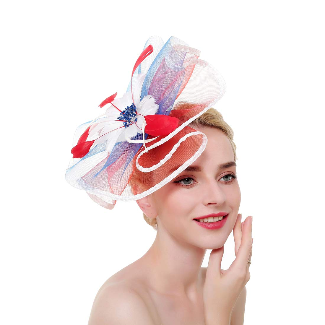Fascinators Hat for Women,Tea Party Hat Flower Mesh Hair Clip,Kentucky Derby Wedding Feathers Hair Clip