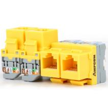 AMPCOM 5-Pack CAT5e RJ45 Tool-Less Keystone Jack, No Punch Down Tool Required UTP Module Connector Yellow