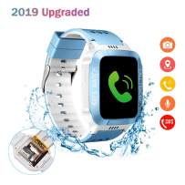 ELEOPTION Kids Smart Watches GPS Tracker Phone Call for Boys Girls Digital Wrist Watch, Sport Smart Watch, Touch Screen Cellphone Camera Anti-Lost SOS Learning Toy for Kids Gift (White&Blue)
