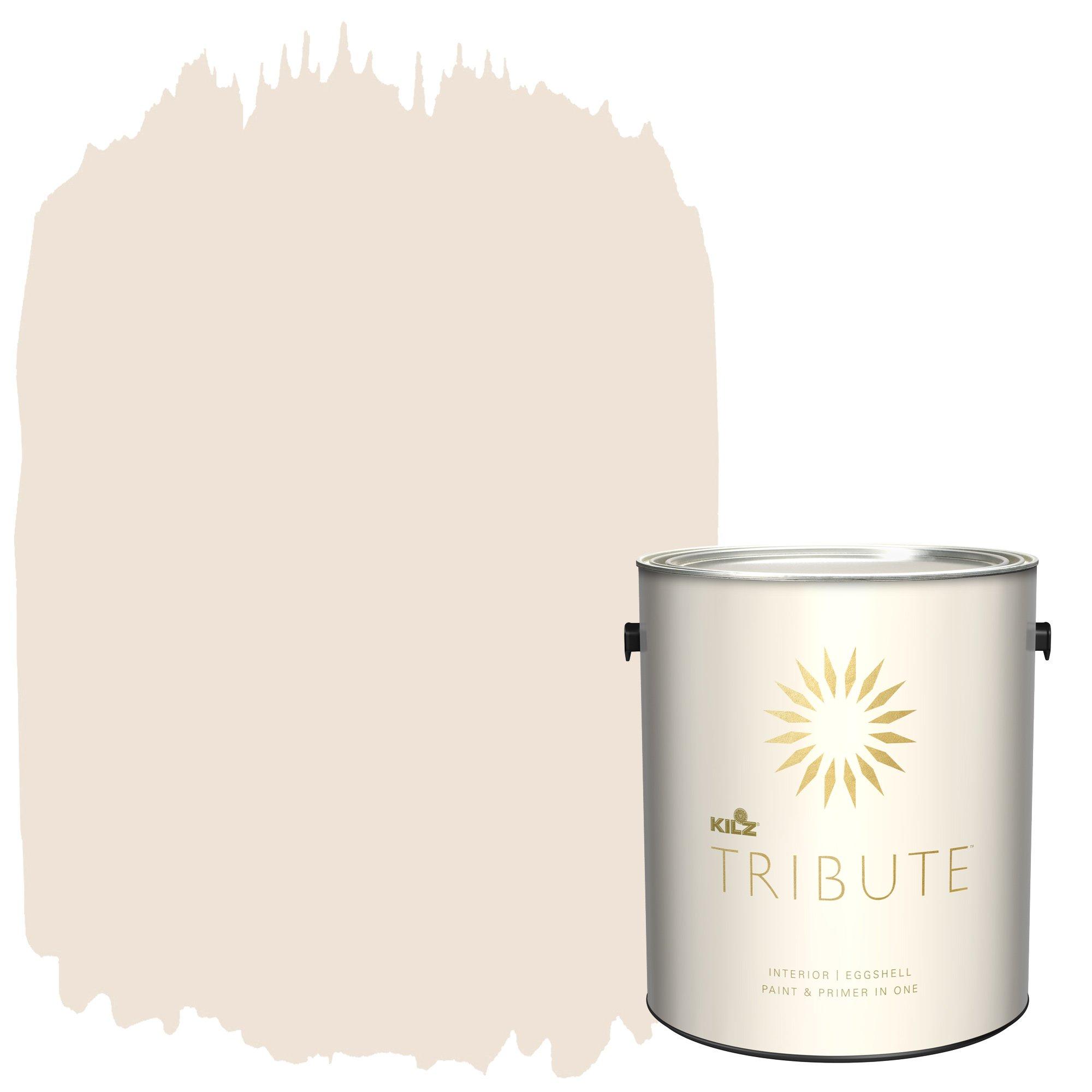 KILZ TRIBUTE Interior Eggshell Paint and Primer in One, 1 Gallon, Champagne White (TB-06)