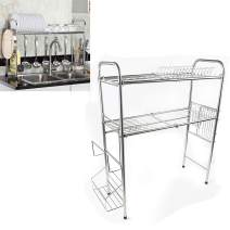 TFCFL Stainless Steel Sink Rack Dish Drying Rack Over Sink Kitchen Supplies Storage Shelf Tableware Drainer Organizer Utensils Holder (Double Layer 80CM)