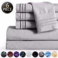 """SAKIAO -6PC King Size Bed Sheets Set - Brushed Microfiber 1800 Thread Count Percale - 16"""" Deep Pocket Wrinkle Free & Fade Resistant - Egyptian Sheet Set (Grey,King)"""