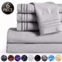 """SAKIAO -6PC California King Bed Sheets Set - Brushed Microfiber 1800 Thread Count Percale - 16"""" Deep Pocket Wrinkle Free & Fade Resistant - Egyptian Sheet Set (Grey,California King)"""