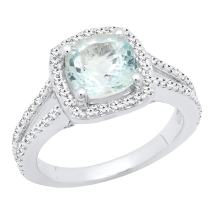 Dazzlingrock Collection 14K Ladies Halo Split Shank Engagement Ring, White Gold