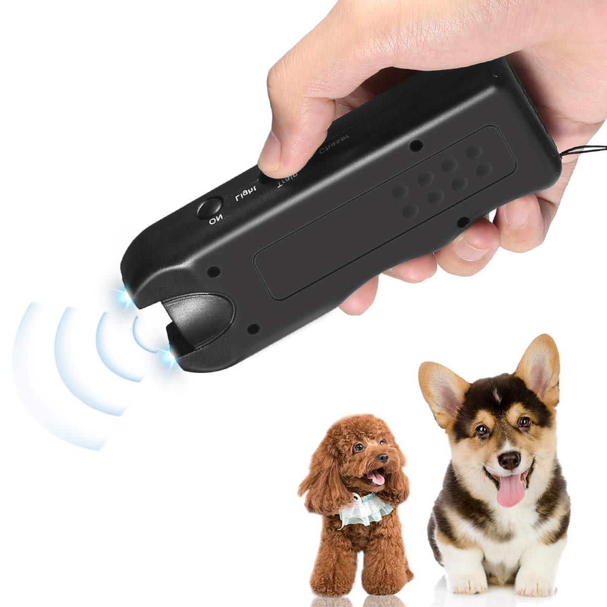 Handheld Dog Repellent, Ultrasonic Infrared Dog Deterrent, Bark Stopper + Good Behavior Dog Training