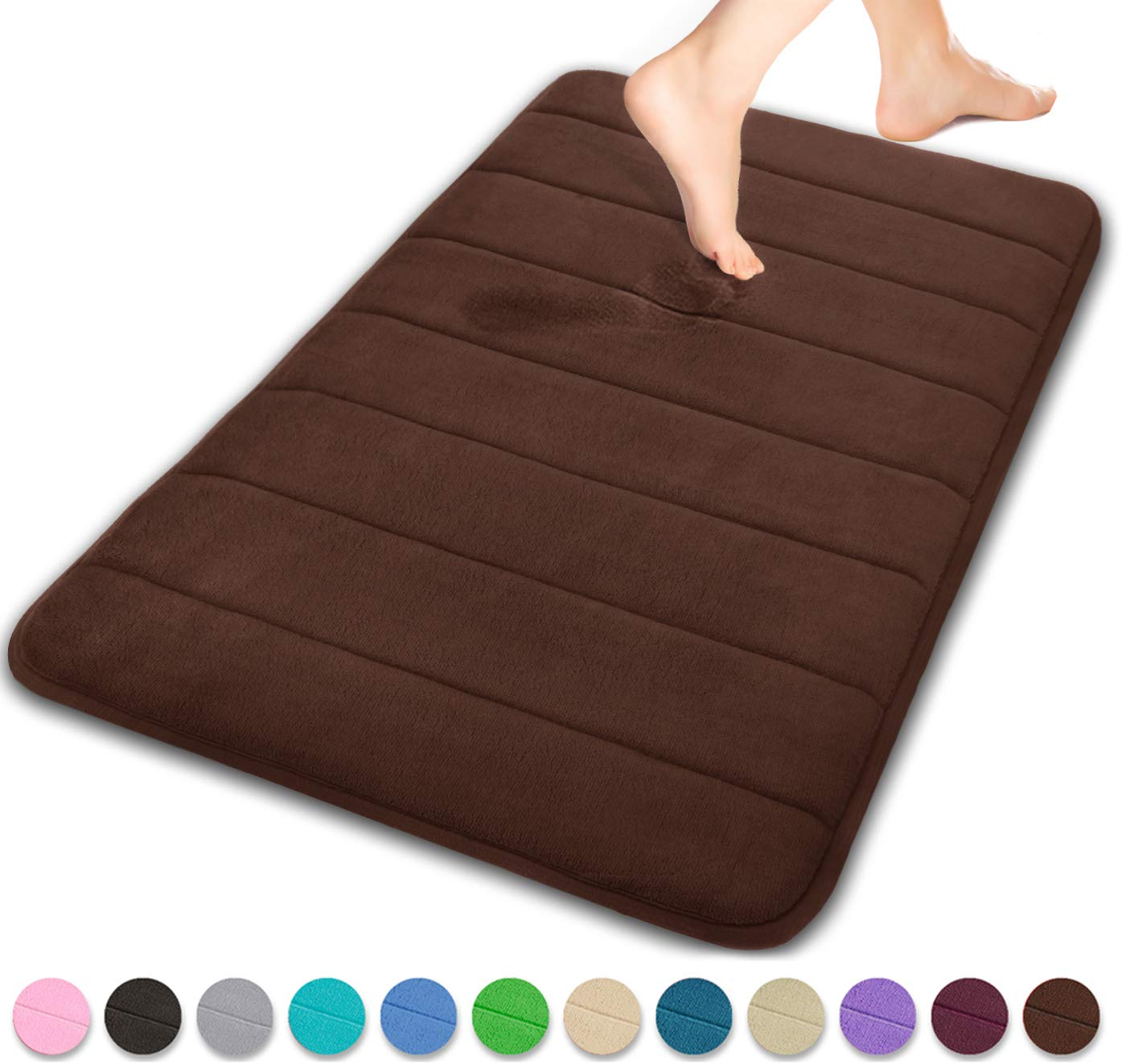 Yimobra Memory Foam Bath Mat Large Size 31.5 by 19.8 Inches, Comfortable, Soft, Super Water Absorption, Machine Wash, Non-Slip, Thick, Easier to Dry for Bathroom Floor Rug, Brown