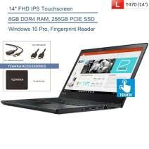 "2020 Lenovo ThinkPad T470 14"" FHD Touchscreen Business Laptop Computer, Intel Core i5-6200U Up to 2.8GHz, 8GB DDR4 RAM, 256GB PCIE SSD, AC WiFi, Fingerprint Reader, Windows 10 Pro, YZAKKA Accessories"