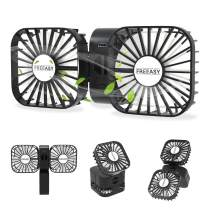 Portable Travel Mini Fan, USB Rechargeable Handheld Dual Fan, Flexible Small Desk Fan, 3 Speed Adjustable, 2000mAh Battery, 180 Degrees Free Rotation for Traveling, Camping, Home, Office - Black