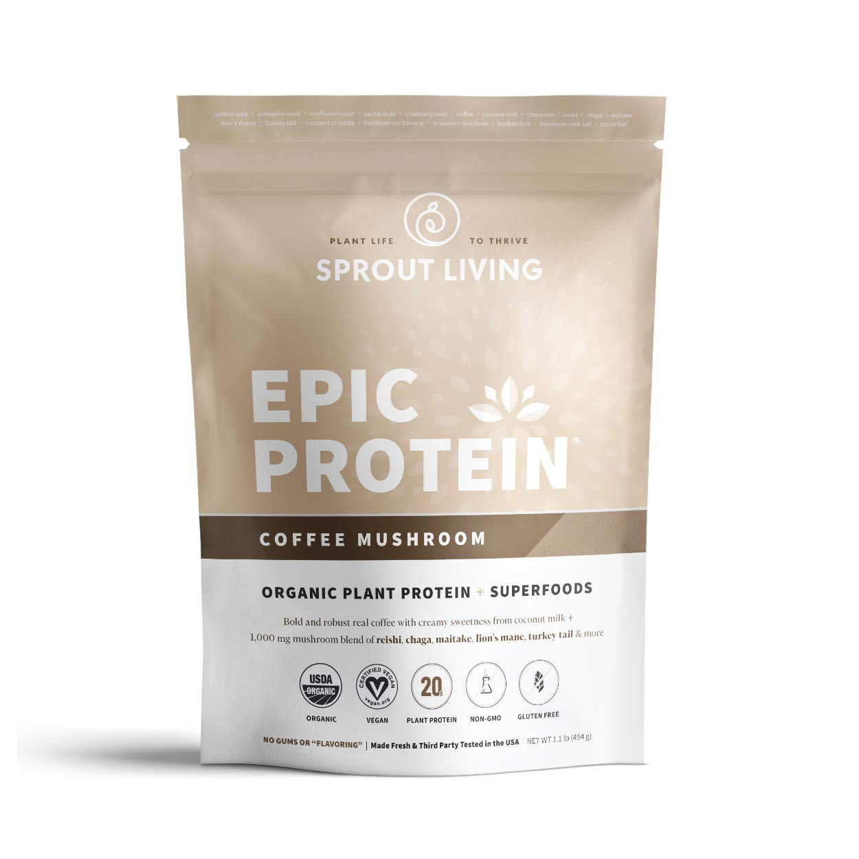 Sprout Living Epic Protein Powder, Coffee Mushroom Flavor, Organic Plant Protein, Gluten Free, No Additives, 20 Grams Protein, Adaptogenic Mushrooms (1.1 Pound,13 Servings)