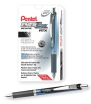 Pentel Gel Ink Pen, EnerGel RTX Retractable Gel Pen, Fine Point, Needle Tip, Black Ink, Box of 12 (BLN75-A)