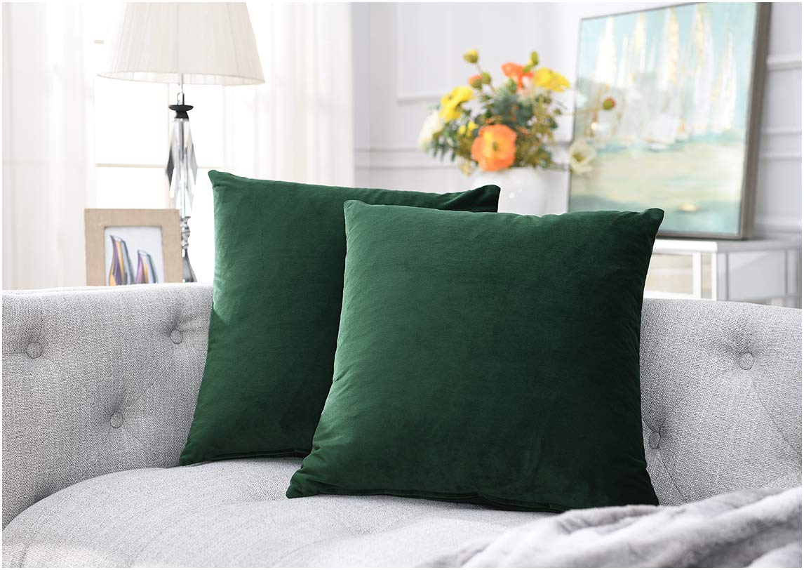 COMFORTLAND New Year/Christmas Decorative Pillow Cases 20x20 Amy Green: 2 Pack Cozy Soft Velvet Square Throw Pillow Covers for Farmhouse Sofa Couch Bed Chair Home Decor Decorations