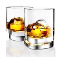 JoyJolt Aqua Vitae Premium Whiskey Glass Set of 2. Square Whiskey Glasses with Off Set Base. Old Fashioned Rocks Glasses for Scotch and Bourbon. Whiskey Tumbler Gifts for Men