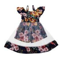 YOUNGER TREE Toddler Girl Floral Dress Strap Off Shoulder Jumpsuits Short Playsuits Mesh Dress Kids Clothes Outfits Summer