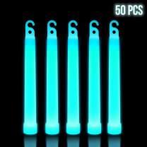 Lumistick 6 Inch Premium Glow Sticks   15mm Thick Flat Bottom Illuminating Glowing Sticks   Waterproof & Non-Toxic Light Up Neon Sticks with Hook for Camping & Hiking (Aqua, 50 Glow Sticks)
