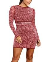 OLUOLIN Women's Glitter Rhinestone See Through Mesh Long Sleeve Clubs Cocktail Bodycon Mini Dress