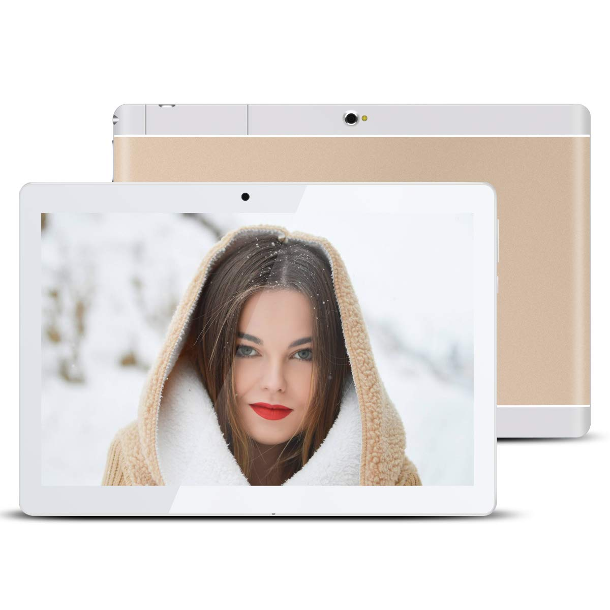 """Kivors 10.1"""" Inch Touch Screen Tablet - Android 7.0 Nougat-2GB RAM + 32GB ROM - Quad Core Unlocked WiFi Tablets - IPS 1280x800 HD - Dual Camera - GPS WiFi Android Tablets(Gold)"""