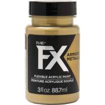 PlaidFX Metallic Flexible Acrylic Paint Ideal for Pliable Surfaces and Cosplay Costumes, Non-Cracking or Peeling, No-Tack, Durable, 3 oz, Golden Hour