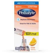 Pedialyte Electrolyte Powder, Orange, Electrolyte Hydration Drink, 0.6 oz Powder Packs, 6 Count
