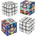 Baker Ross Festive Friends Color-in Cube Puzzles — Christmas Novelty Toys for Kids, Perfect Party, Loot, Prize Bag and Stocking Filler (Pack of 2)