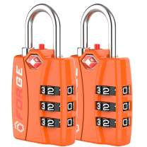 Bright Colors Orange 2 Pack, TSA Approved Luggage Locks, Zinc Alloy Body, Open Alert Red Indicator