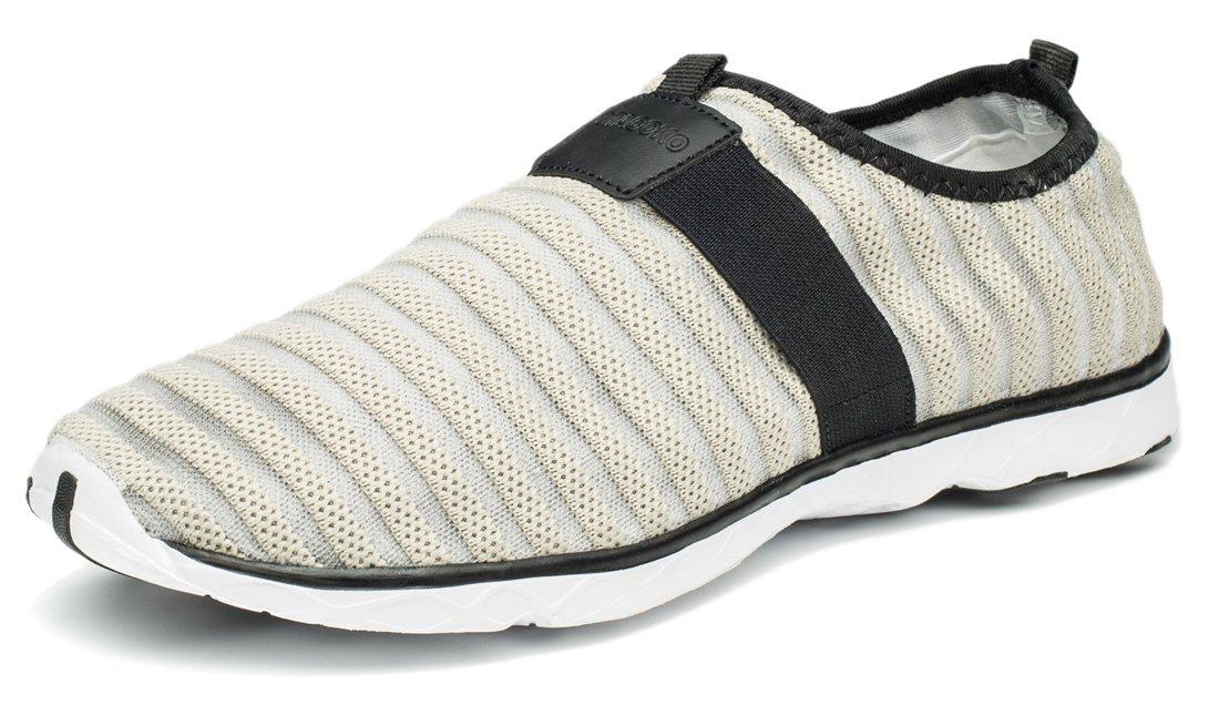 Wonvatu Women Men Unisex Slip On Barefoot Quick-Dry Water Shoes with Elastic Mesh Grey