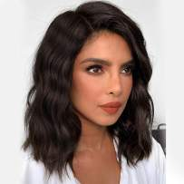 Nnzes Synthetic Curly Wavy Bob Wigs Short Brown Middle Part Wigs Shoulder Length Hair for Girls Natural Heat Resistant Cosplay Wig Black Dark Brown Color Hair