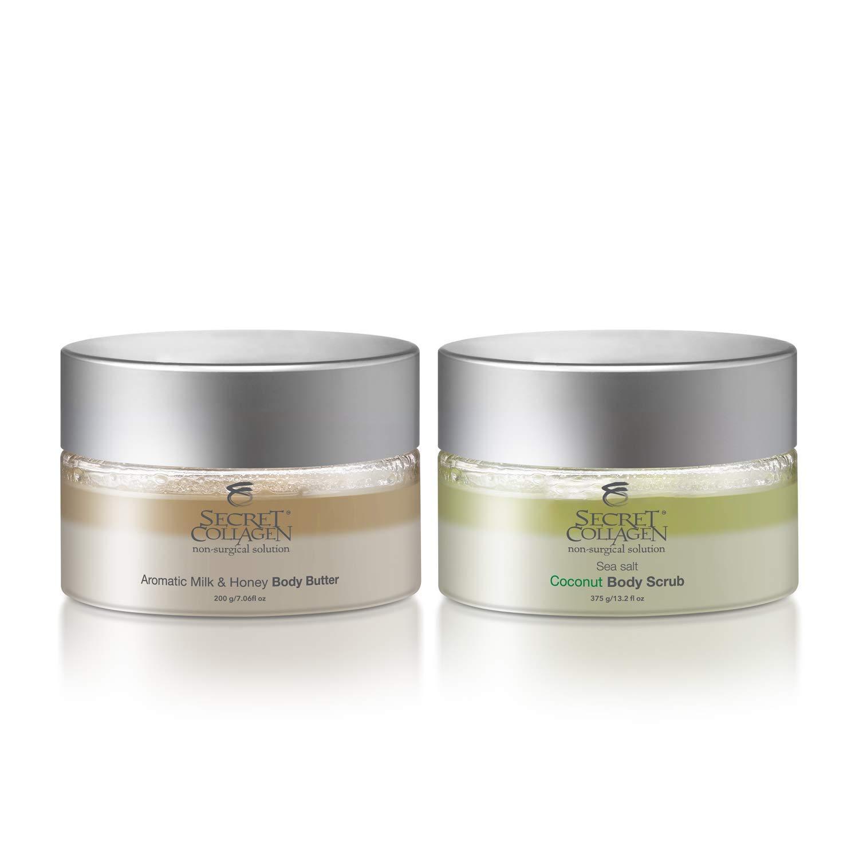 Aromatic Milk & Honey Body Butter 208ML + Sea Salt Coconut Body Scrub 390ML (Bundle) | Moisturizing | Reduces Dark Spots | Cell Rejuvenation | Restoring | Bio Organica Collagen & Retinol Boosters