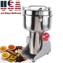 Genmine Electric Grain Grinder Mill Machine Commercial 1000g Kitchen Herb Spice Pepper Coffee Grinder Powder Swing Type for Herb Pulverizer Food Grade Stainless Steel (Shipping From USA)