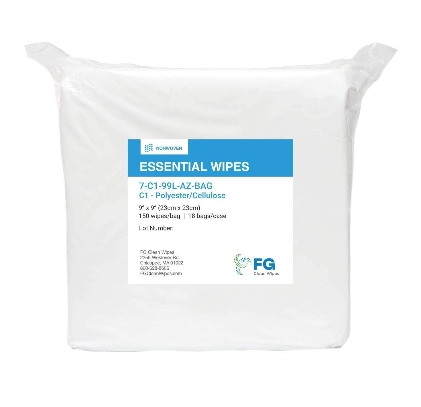 "FG Clean Wipes 9""x9""- C1 - Premium Polyester Cellulose Wipes- 1 Bag - 300 Wipes/Bag (7-C1-99L-AZ-BAG)"