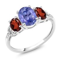 Gem Stone King 10K White Gold Diamond Accent 3-Stone Engagement Ring set with 2.21 Ct Oval Blue Tanzanite Red Garnet (Available 5,6,7,8,9)
