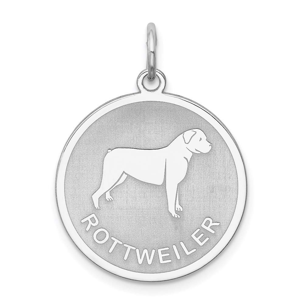925 Sterling Silver Rottweiler Disc Pendant Charm Necklace Animal Dog Engravable Round Fine Jewelry For Women Gifts For Her