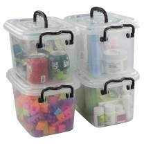 Jekiyo 5.5 Quart Plastic Latching Box, Clear Bin with Black Handle, 4 Packs