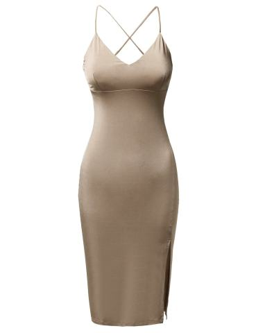 Awesome21 Women Solid Silky Stretch Strappy Side Slit Midi Length Bodycon Dress