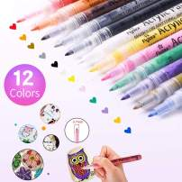 Acrylic Paint Marker Pens, l'aise vie Markers Water Based Paint Pens for Rock Painting, Wood, Metal, Plastic, Glass, Paper, Canvas, Fabric, Mugs, Scrapbooking Craft, Card Making (0.7mm Tip, 12 Colors)